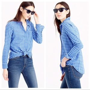 [J. Crew] Blue Two-Toned Gingham Boy Button Down
